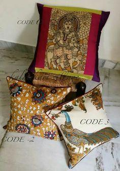 Handpainted kalamkari cushion cover art
