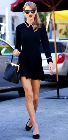 Taylor Swift ; Leaving Bouchon Restaurant, Los Angeles, January 2014 ; Reformation dress, Dolce & Gabbana bag & Ray Ban sunglasses