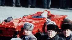 At Andropov's funeral, 1984: with black ushankas, Chernenko (Andropov's sucessor) and Tikhonov.