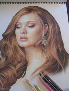 a PENCIL CRAYON illustration of Adele. Amazing!