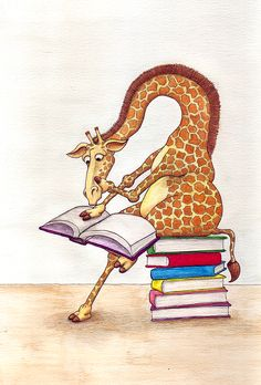 Giraffe - my favourite and a pile of books. Also how my neck feels after reading