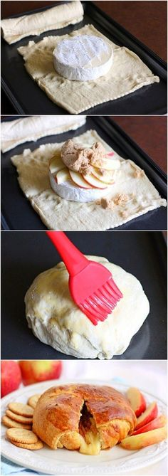 Crescent Roll Baked Brie Recipe Ingredients 1 (8-oz.) can Refrigerated Crescent Dinner Rolls 1 (8-oz.) round natural Brie cheese 1 egg, beaten 1/2 green apple ,thinly sliced Directions Heat …