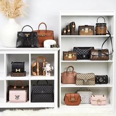Latest Arrivals of Authentic Used for sale Handbag Display, Handbag Storage, Handbag Organization, Luxury Bags, Luxury Handbags, Purses And Handbags, Luxury Closet, Luxury Wardrobe, Chanel Coco Handle