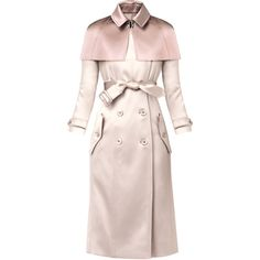 Burberry Two-Tone Caped Trench Coat (785 KWD) ❤ liked on Polyvore featuring outerwear, coats, jackets, burberry, coats & jackets, casacos, pink, giacche, vestes and outerware