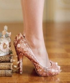 Peach glitter #wedding shoes