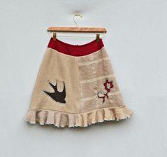 Women's Sweater Skirt Upcycled Clothing Bird Heart by MyOlyGirl