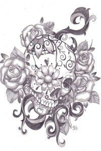 Skull Flowers Tattoo Design