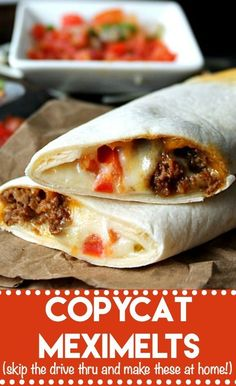 Chicken Tacos Discover Copycat Meximelts (skip the drive thru and make these at home!) Copycat Meximelts are a drive thru favorite you can make at home! Melty cheese flavorful beef and pico make these a family favorite! Beef Steak Recipes, Beef Recipes For Dinner, Ground Beef Recipes, Beef Meals, Chicken Recipes, Beef Tips, Taco Ideas For Dinner, Dinner Crockpot, Turkey Recipes