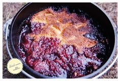 Dutch Oven Cobbler made with a cake mix and berries!
