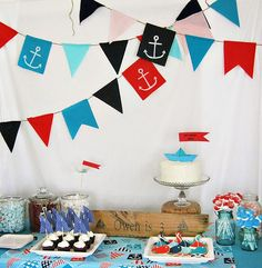 Cute  Crafted Nautical Birthday Party.