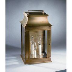 Northeast Lantern Concord 3 Light Outdoor Flush Mount Finish: Dark Antique Brass, Shade Type: Clear Seedy