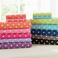 I love the Dottie Sheet Set on pbteen.com + I got another pair of pillowa case in white with bigger turq polka dots