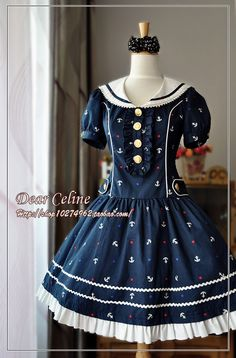 Dear Celine Anchor Print Sailor Lolita One Piece Dress in navy blue with gold buttons