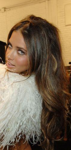 Adriana Lima's gorgeous hair.