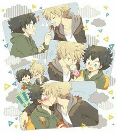 Izuku, Katsuki, cute, yaoi, blushing, kissing, ice cream, takoyaki; My Hero Academia