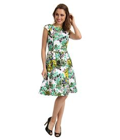 London Times Cap Sleeve Printed Fit & Flare Dress Green - 6pm.com