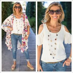 Check out my weekend look in our Floral Print Duster, Ivory Cold Shoulder Top and Black and Multi Color Clover Necklace - All featured on my blog this week and part of our weekend Flash Sale!.Get 15% off all featured items with code FS56 plus Free US Shipping www.jacketsociety.com