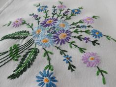 Hand embroidered tablecloth, cotton linen, small - square by BlindDogVintage on Etsy