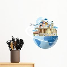 Landmark Global Travel Journey Greece Aegean Sea Plane Removable Wall Sticker Art Decals Mural DIY Wallpaper for Room Decal Sea Plane, Diy Wallpaper, Removable Wall Stickers, Wall Decor, Wall Art, Decorative Bowls, Greece, Decals, Christmas Decorations