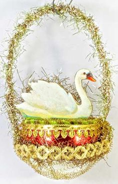 Serene Swan in Amber and Silver Glass Basket   http://victorianornaments.com