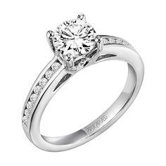 ArtCarved.  Jubilee. Channel set. Surprise diamonds.  Palladium.  Engagement ring.