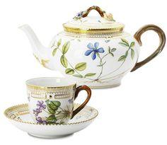 Porcelain Teapot Cup and saucer Flora Danica Royal Copenhagen