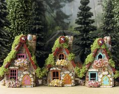 Fairy House of Naugle Glen - Handcrafted Fae Cottage with Chimney, Arched Door, Tiled Roof, Blooming Flower Boxes & Moss Mini Fairy Garden, Fairy Garden Houses, Miniature Fairy Gardens, Miniature Houses, Fairy Crafts, Diy And Crafts, Blooming Flowers, Flower Petals, Clay Fairy House