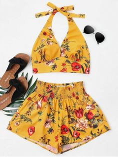 4a27e64285f2 Print Halter Top And Shorts Set. A solid matching set crafted from ribbed  knit.