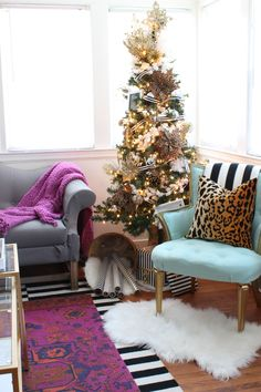 Black, White, Gold and leopard Christmas tree & tips for matching your holiday decor to your home. - www.classyclutter.net
