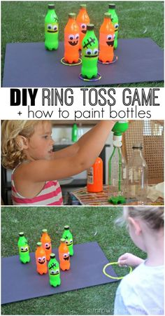 Planning any Fall Carnival Games? This DIY Ring Toss Game Idea is easy to throw together and fun for all ages! Plus learn how to paint bottles easily from the inside. AD #HandsOnCrafty via /simmworksfamily/