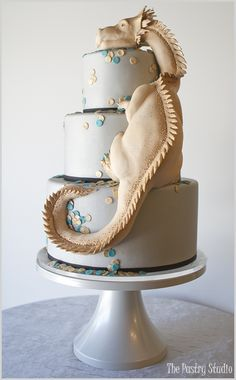 Hand Sculpted Edible-Dragon Cake by The Pastry Studio: Daytona Beach, Fl www.thepastrystudio.com Join us on FACEBOOK & INSTAGRAM!