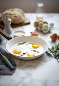 Eggs fried in cream with sage