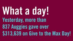 Auggie Eagle says thanks for Giving to the Max, Auggies!