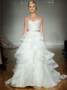 Allure fall 2016 wedding gown with sweetheart neckline, beaded and lace bodice with ribbon belt and draped full ball gown skirt with dramatic layers   https://www.theknot.com/content/allure-wedding-dresses-bridal-fashion-week-fall-2016