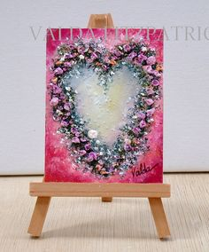 Floral Heart 3x4inches  original oil painting any occasion