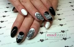 SPN Nails UV laq wedding dress, black tulip, paint gel ręcznie malowana koronka
