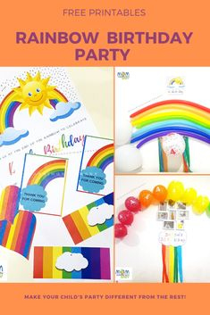 Rainbow Themed B'day Party – Free Printables – Mom Learning With Baby