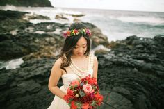 Bridal floral crown and bouquet -- Anna Kim Photography
