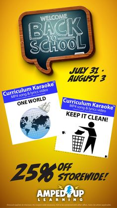 Back To School Sale ~ 25% off! Welcome Back To School, Back To School Sales, Similarities And Differences, Karaoke, First World, Curriculum, Keep It Cleaner, Teacher, Coding