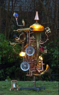 The Traveller.  An unusual piece of outdoor garden art.