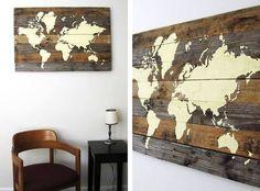 Mapa mundi fabricado con pallets!!!