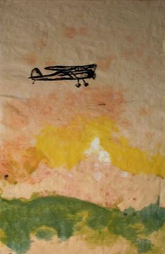 Paper Pulp Painting and Lithograph Cessna Airplane by ANKarabin, $50.00