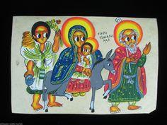 Coptic Ethiopian Painting on Parchment Flight Into Egypt | eBay