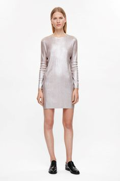COS image 3 of Metallic coated dress in Dusty pink
