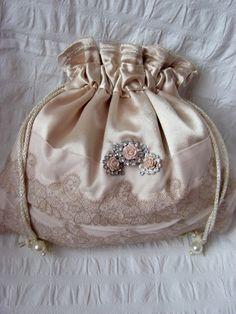 Gold satin drawstring pouch, hand made bag, bridal bag, bridesmaids bag, mother of bride bag, flower girl bag, wedding gift, wedding bag by KKDiya on Etsy