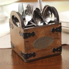 Give Thanks silverware caddy Silverware Caddy, Cutlery Holder, Utensil Caddy, Silverwear Holder, Kitchen Utensil Storage, Kitchen Utensils, Cooking Utensils, Rustic Home Interiors, Rustic Homes