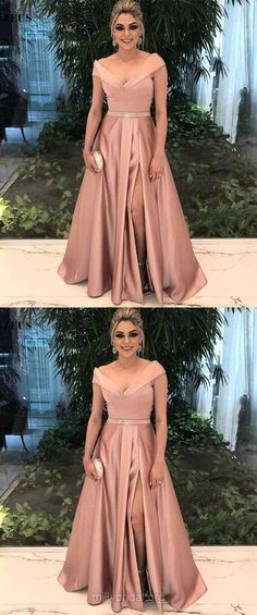 Long Prom Dresses, 2018 Prom Dresses, Cheap Prom Dresses For Teens, Princess Prom Dresses Off-the-shoulder, Satin Prom Dresses Beading Modest #promgowns