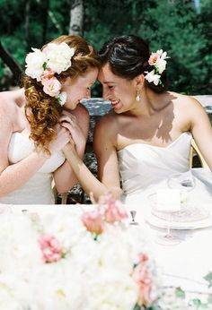 H&H Weddings ~ A wedding resource for gay, lesbian, bisexual, and transgender couples Two Brides, Brides And Bridesmaids, Lesbian Wedding, Lesbian Love, Happy Girls, Girls In Love, Perfect Wedding, Dream Wedding, Transgender Couple