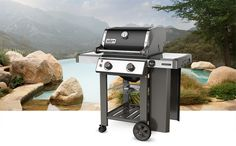 Available at Watson's. Your intimate dinner just got even better with this stylish two burner Genesis II gas grill. With the open cart design and the impressive GS4 grilling system design this compact grill both upgrades your balcony or patio and allows you to charm someone special with big taste.
