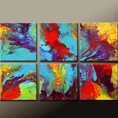 6pc Abstract Canvas Art Painting  Original by wostudios on Etsy, $129.00
